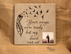 12x12 Your wings were ready, In loving memory sign, Memorial gift, Personalized Loving memory sign, Custom tile or wooden canvas - pinned by pin4etsy.com