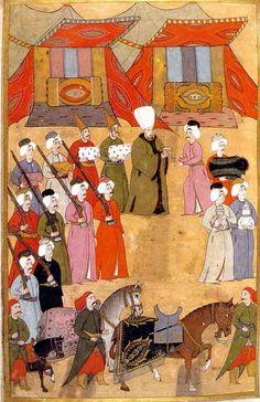 Sultan 3. Ahmed'in hediye kabulü Levni minyatürü Surname-i Vehbi 1720.