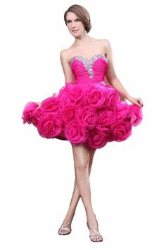 f2673b3a0a Cute short hot pink puffy poofy formal prom homecoming plus size dresses  2014 trendy style rosette corset strapless dress