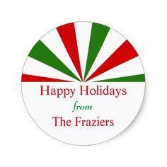Shop Festive Holiday Stripes Personalized Classic Round Sticker created by DP_Holidays. Christmas Labels, Christmas Stickers, Personalized Stickers, Custom Stickers, Happy Holidays, Christmas Holidays, Holiday Festival, Round Stickers, Activities For Kids