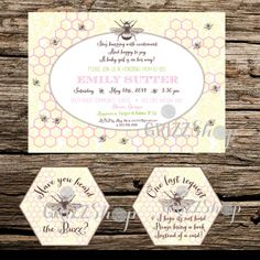 Bee Buzz Baby Shower Invitation Set