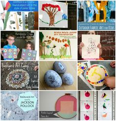 backyard ART camp :: 12 breathtaking artist-inspired projects {and one beautiful giveaway! Lessons For Kids, Projects For Kids, Diy For Kids, Art Projects, Crafts For Kids, Circle Art, Found Object Art, Backyard For Kids, Teaching Art