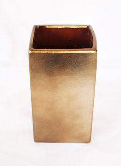 Bronze Ceramic Square Vase | Metallic Wedding Decorations | Afloral.com