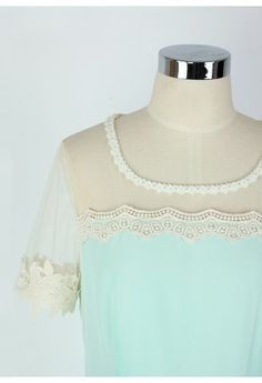 Sweet Floral Lace Trim Mint Dress http://rstyle.me/n/emjpbnyg6