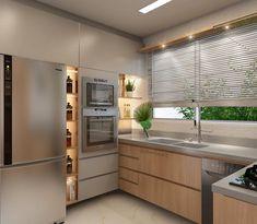 Cozinha | A madeira e o cinza dominam o projeto desta elegante cozinha que criamos. A iluminação de forma suave destaca os nichos e quebra…