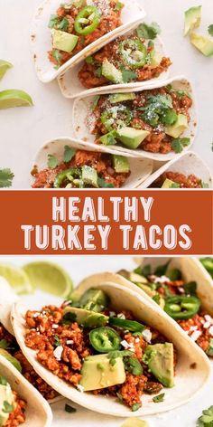 Healthy Turkey Recipes, Healthy Meats, Healthy Tacos, Mexican Food Recipes, Ground Turkey Meat Recipes, Healthy Ground Turkey Dinner, Healthy Mexican Food, Ground Turkey Seasoning, Ground Turkey Tacos