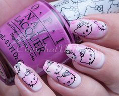 Hello Kitty nail art using several pink polishes from the OPI Hello Kitty Collection