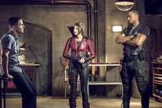 Stephen Amell as Oliver Queen, Willa Holland as Thea Queen and David Ramsey as John Diggle