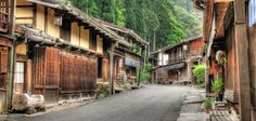 Tsumago-juku, Japan.   It is located in Nagano Prefecture. It has been restored to its appearance as an Edo-era post town and is now a popular tourist destination.
