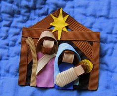 Nativity Ribbon Crafted Hair Clip Bow Pin by CelticTideCreations