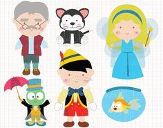 Disney Inspired Pinocchio Digital CLIP ARTS personal by Digicute, $5.00