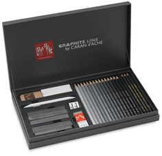 Caran d'Ache graphite line satin gift box - set of assorted technical drawing pencils and accessories Art Sketches, Art Drawings, Caran D'ache, Artist Supplies, Faber Castell, Drawing Tools, Art Studios, School Supplies, Graphite