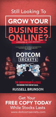 """DotComSecrets The Underground Playbook For Growing Your Company Online. """"A simple process that ANY company can use to geometrically improve their traffic, conversion and sales online. Inbound Marketing, Internet Marketing, Online Marketing, Affiliate Marketing, Media Marketing, Free Books, Good Books, Landing Pages That Convert, Sales Process"""
