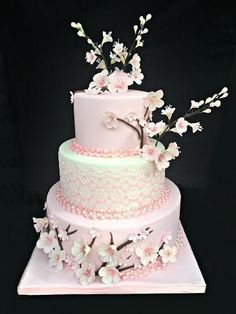 Cherry Blossom Cake - Cake van Lea & # s Cooking Beautiful Wedding Cakes, Beautiful Cakes, Cherry Blossom Party, Cherry Blossoms, Debut Cake, Jasmin Party, Quince Cakes, Japanese Cake, Quinceanera Cakes