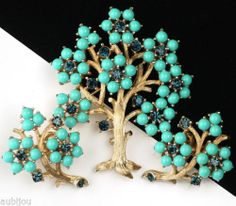 VINTAGE TRIFARI TREE OF LIFE TURQUOISE MONTANA BLUE RHINESTONE BROOCH PIN SET