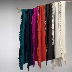 Organic cotton tassel scarves in many colors. #EthicalFashion from INDIGENOUS