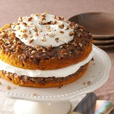 """Praline Pumpkin Torte Recipe- Recipes  """"This favorite harvest cake stays moist to the last bite,"""" relates Esther Sinn of Princeton, Illinois. """"It's perfect for Thanksgiving or Christmas gatherings."""""""