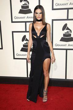 alessandra ambrosio black slit prom dress 2016 grammy awards red carpet