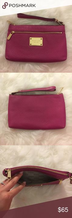 💕Michael Kors Wristlet💕 Authentic Michael Kors wristlet. I used it less than 5 times total so it is in perfect condition! It is a hot pink pebbled leather with gold hardware. I just cleaned it with leather cleaner & conditioner so it is in perfect condition for you when it arrives! $45 OBO MICHAEL Michael Kors Bags Clutches & Wristlets
