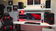 Best Game Room Ideas [Game Room Setup For Adults & Kids] 25 Ideal Game Room Ideas Computer Desk Setup, Gaming Room Setup, Pc Setup, Office Setup, Gaming Desk Xbox One, Pc Computer, Simple Computer Desk, Home Music, Game Room Kids