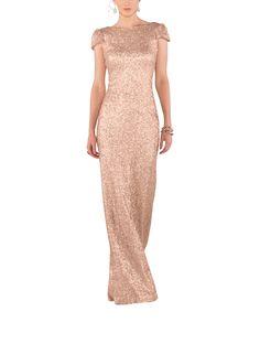 Description - Sorella Vita Modern Metallic Style 8718 - Full length bridesmaid dress - Boatneck - Cowl back - Cap sleeve - Matte sequin