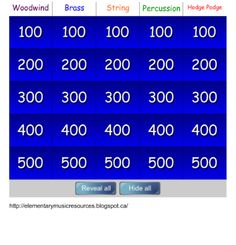 Instrument Jeopardy for Smart Board: Woodwind, Brass, String, Percussion Music Lesson Plans, Music Lessons, Piano Lessons, Music Activities, Music Games, Singing Games, Primary Activities, Rhythm Games, Kids Music