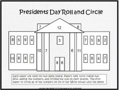 FREE addition roll-and-add for Presidents Day