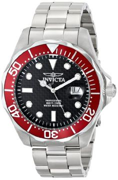 Men's Wrist Watches - Invicta Mens Pro Diver Black Carbon Fiber Dial Stainless Steel Watch *** Check out this great product. Cheap Watches, Casual Watches, Cool Watches, Rolex Watches, Watches For Men, Wrist Watches, Titanium Watches, Stainless Steel Watch, Watches Online