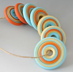 Southwest Discs - (7) Handmade Lampwork Beads - Coral, Pale Yellow, Turquoise - Etched, Matte