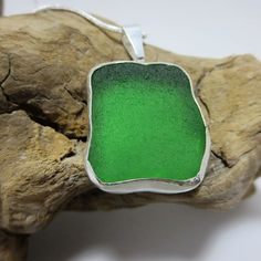 Eco-friendly Valentine's Day Gift. A brilliant, chunky piece of emerald green sea glass, hand-picked from the coast of Southern California, mounted in a hand crafted .999 fine