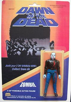 Custom made 3 3 4 Zombie Dawn of the Dead vintage style action figure MOC Horror Action Figures, Custom Action Figures, Action Toys, Action Movies, Horror Icons, Horror Films, Horror Merch, Gi Joe, Best Zombie Movies