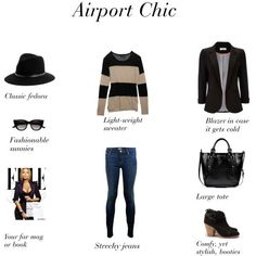 Must Have Pieces for Fab Flight Travel Airport Chic - easy ideas for what to wear when you're jetting off to a conference or tripWhen When may refer to: Usually a question whose answer refers to time, period or phase. Airport Chic, Airport Style, Travel Chic, Travel Style, Travel Fashion, Travel Attire, Travel Outfits, Men's Casual Fashion Tips, Business Fashion