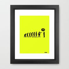 WTF? Evolution! Framed Art Print by Estudio Minga | www.estudiominga.com - $36.00