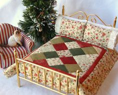 Dollhouse Miniature Christmas Quilt with by TheLittleQuiltShoppe, $35.00