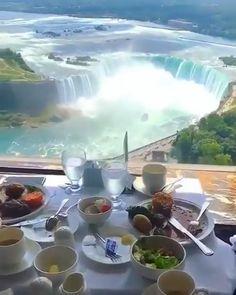 The best view for lunch 😍 Descubra os melhores lugares para viajar no mundo World Most Beautiful Place, Beautiful Places To Travel, Wonderful Places, Cool Places To Visit, Vacation Places, Vacation Trips, Beach Adventure, Les Cascades, Beautiful Waterfalls