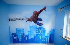 En mi dormitorio, la pared es muy grande y azul, rojo, y blanco.