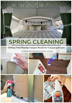 Spring Cleaning Our Pop Up Camper, Part Two: The Interior Last week, we talked all about how we spring clean the exterior of our little pop up camper. We tackled exterior maintenance items like canvas care, battery maintenance, and trailer bearings. Camping Hacks, Camping Info, Go Camping, Camping Ideas, Camping Guide, Camping Supplies, Camping Checklist, Family Camping, Camping Cooking