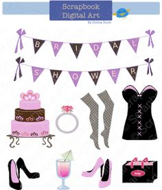 Bridal Shower Clip Art. Bachelorette Party Clip Art. Despedida de soltera. Brude dusj. Decoraciones para novia.