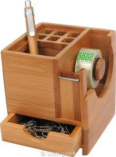 Stiftebox mit Klebefilm- Abroller Bambus 111088