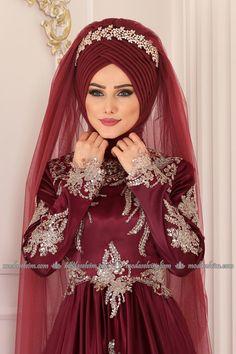 moda selvim Hazır Duvak YGSD01 Bordo Muslim Wedding Gown, Muslimah Wedding Dress, Hijab Wedding Dresses, Pakistani Bridal Dresses, Wedding Gowns, Muslim Fashion, Hijab Fashion, Women's Fashion, Hairstyle Trends