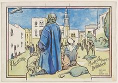 Palestine, Market Square, Bethlehem, bakery card from the Magic Card of Knowledge series (D50), issued by the John English Baking Company