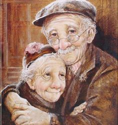 Grandparents / old couple DIY Diamond Painting Kit. Crystal Round Drill diamond painting with full pasting area. This is a timeless piece that looks good in any decor and makes the perfect addition to your Diamond Art Collection. Elderly Couples, Old Couples, Elderly Man, Elderly Person, Vieux Couples, Growing Old Together, Old Folks, Animation, Belle Photo