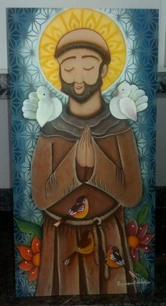 San Francisco de Asis Catholic Art, Religious Art, South American Art, Activist Art, Patron Saint Of Animals, American Beagle, Madonna And Child, Color Pencil Art, Arte Popular