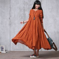 bcac5b9648b Loose Fitting Long Maxi Dress - Summer Dress in Orange(R) - Long Sleeve  Cotton Sundress for Women