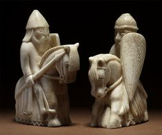 Isle of Lewis (Scotland) chessmen. This is a pair of knights.