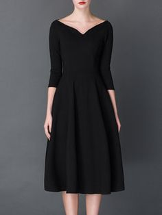 Black Shirred Vintage A-line Crew Neck Midi Dress - StyleWe.com