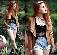 High waisted shorts with crop top and brown leather jacket