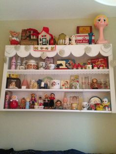 One of my many shelfs of vintage bits and bobs in my kitchen!