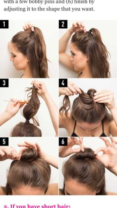 Put Wash Day Off a Little Longer with These 16 Half-Up Bun Hairstyles If you have long hair, use these tips and instructions to make the half bun hairstyle work for you! Start with a tight ponytail with half of your hair up and hair down. Then gently tug Medium Hair Styles, Curly Hair Styles, Half Up Bun, Half Hair Bun, Half Top Knot, Half Up Long Hair, How To Style Short Hair, Half Up Half Down Hair Tutorial, Short Hair Top Knot