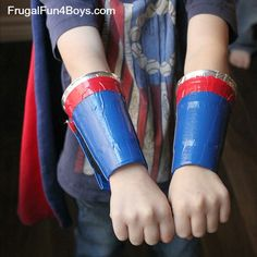 Duct tape superhero arm cuffs - velcro allows them to be taken on and off!